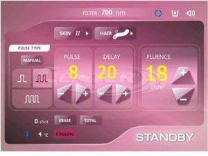 EunSung Clearlight IPL szőrtelenítő gép kijelzője