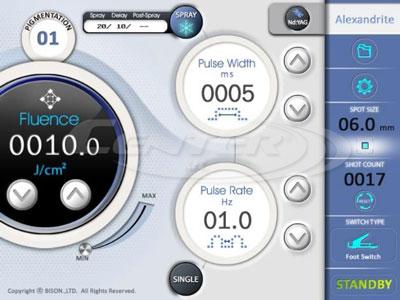 BISON Single Accento hosszú impulzusú Alexandrit lézer felhasználóbarát kezelőfelület